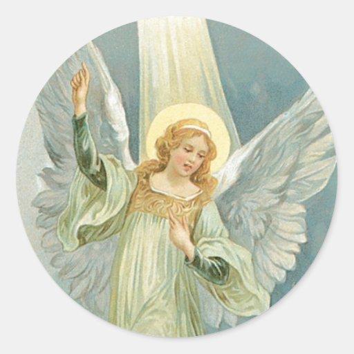 Ange de Noël Adhésif Rond