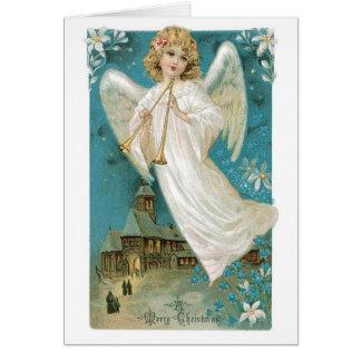 Ange démodé de Noël Carte De Vœux