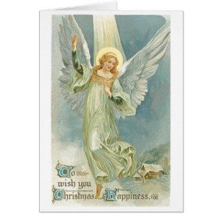 Ange démodé Gloria de Noël Carte De Vœux