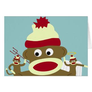 Ange et diable de singe de chaussette cartes de vœux