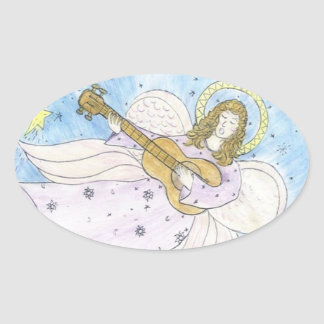 Ange musical sticker ovale