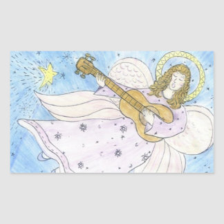 Ange musical sticker rectangulaire