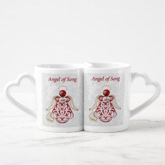 Ange rouge en filigrane et d'or de Noël de chanson Set Tasses Duo