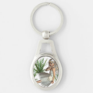 angel-25.png Silver-Colored oval keychain