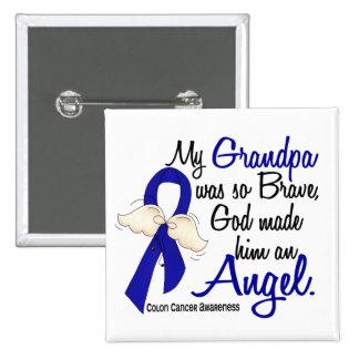 Angel 2 Grandpa Colon Cancer 2 Inch Square Button