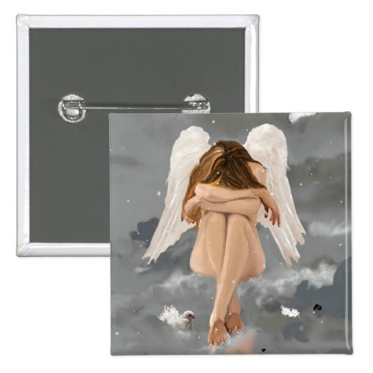 Angel! 2 Inch Square Button