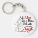 Angel 2 Mom Lung Cancer Basic Round Button Keychain