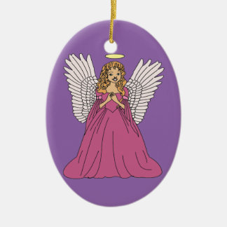 Angel 3 ceramic oval ornament