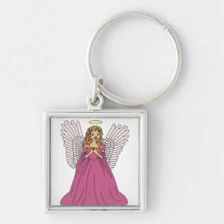 Angel 3 Silver-Colored square keychain