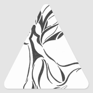 Angel Abstract Drawing Black Ink on White Back Triangle Sticker