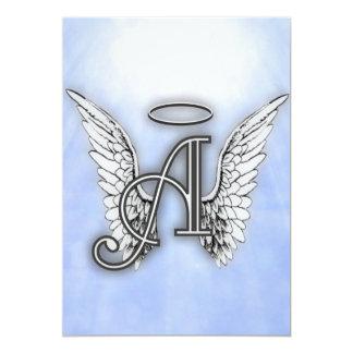 Angel Alphabet A Initial 5x7 Paper Invitation Card