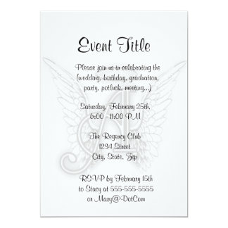 """Angel Alphabet A Initial Latter Wings Halo 5"""" X 7"""" Invitation Card"""