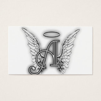 Angel Alphabet A Initial Latter Wings Halo Business Card