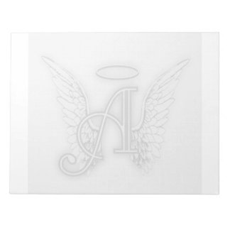 Angel Alphabet A Initial Latter Wings Halo Notepad