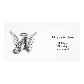 Angel Alphabet A Initial Latter Wings Halo Customized Photo Card