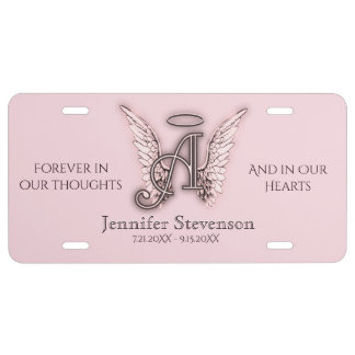 Angel Alphabet A Initial Letter Memorial License Plate