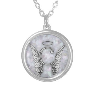 Angel Alphabet C Initial Latter Wings Halo Round Pendant Necklace