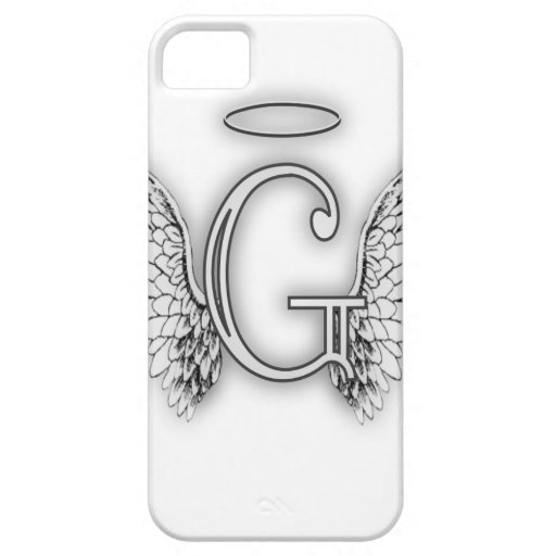 Angel Alphabet G Initial Latter Wings Halo Case For iPhone 5/5S
