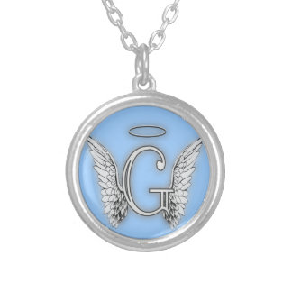 Angel Alphabet G Initial Latter Wings Halo Round Pendant Necklace