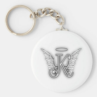 Angel Alphabet K Initial Letter Wings Halo Basic Round Button Keychain