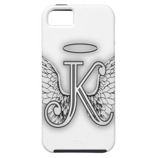 Angel Alphabet K Initial Letter Wings Halo Cover For iPhone 5/5S
