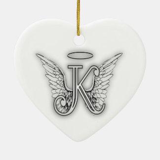 Angel Alphabet K Initial Letter Wings Halo Ceramic Ornament