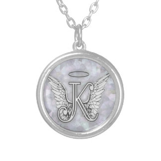 Angel Alphabet K Initial Letter Wings Halo Round Pendant Necklace