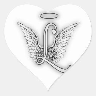 Angel Alphabet L Initial Letter Wings Halo Heart Sticker