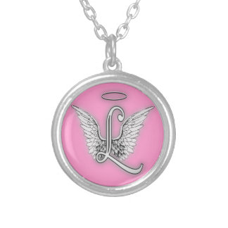 Angel Alphabet L Initial Letter Wings Halo Round Pendant Necklace