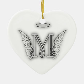 Angel Alphabet M Initial Letter Wings Halo Ceramic Heart Ornament