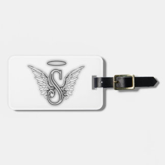 Angel Alphabet S Initial Letter Wings Halo Luggage Tag