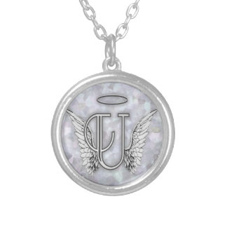 Angel Alphabet U Initial Letter Wings Halo Round Pendant Necklace