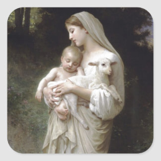 Angel and Baby Jesus Square Sticker