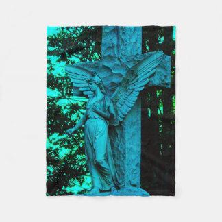 Angel and Cross in Blue and Aqua Fleece Blanket