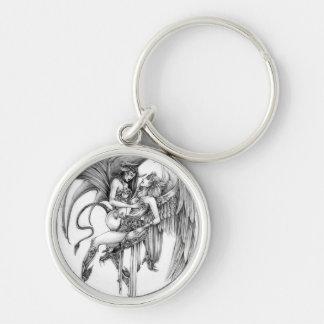 Angel and demon keychain
