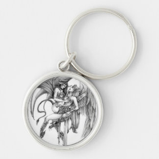 Angel and demon Silver-Colored round keychain