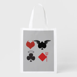 Angel and Devil Card Suits Gray Reusable Grocery Bag