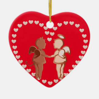 Angel and devil holding hands ceramic heart ornament