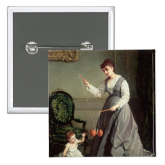 `Angel and Devil' or `Playing Diabolo 2 Inch Square Button