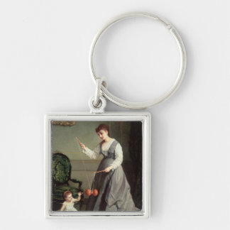 `Angel and Devil' or `Playing Diabolo Silver-Colored Square Keychain