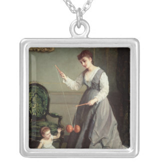 `Angel and Devil' or `Playing Diabolo Square Pendant Necklace