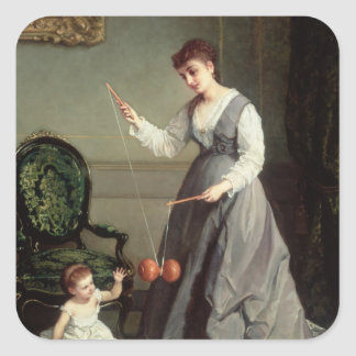 `Angel and Devil' or `Playing Diabolo Square Sticker