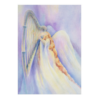 Angel and Harp Print