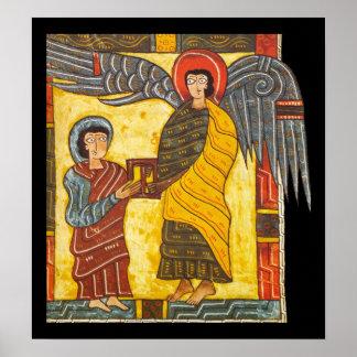 Angel and John Apocolypse 2 Illuminated Manuscript Poster