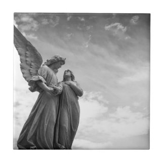 Angel and soul christian sculpture tile