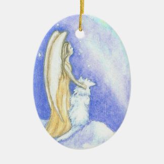 Angel and Wolf Aurora Borealis Christmas Ornament