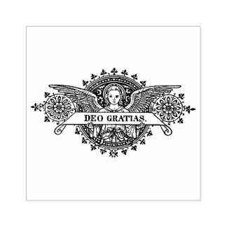 Angel Art with Deo Gratias Banner Rubber Stamp