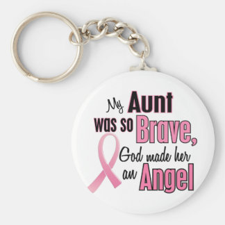 Angel AUNT Breast Cancer T-Shirts & Apparel Basic Round Button Keychain