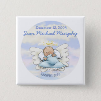 Angel baby boy 2 inch square button