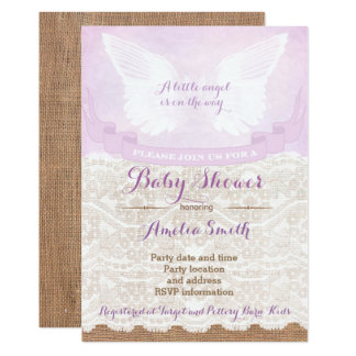 angel baby shower invitations, lilac baby shower card